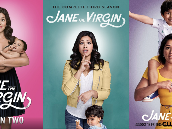 Three promotional posters from the TV show, 'Jane the Virgin.'