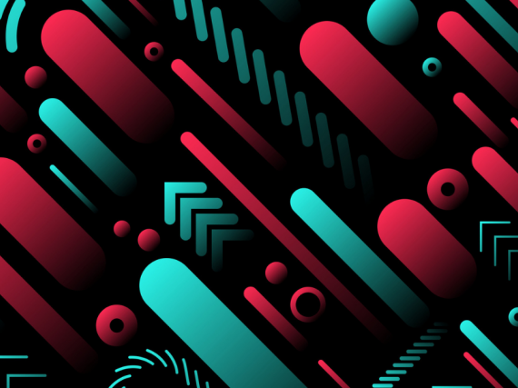 An abstract pattern of red and teal shapes.