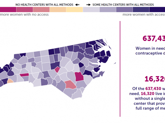 A map of North Carolina showing the levels of contraceptive access by county.