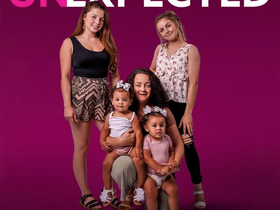 A promo image of Unexpected cast member, Trya, her daughter, her sister with her daughter, and her mother.