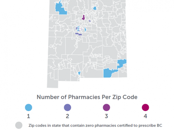 A map of New Mexico showing the density of pharmacies prescribing birth control by zip code.