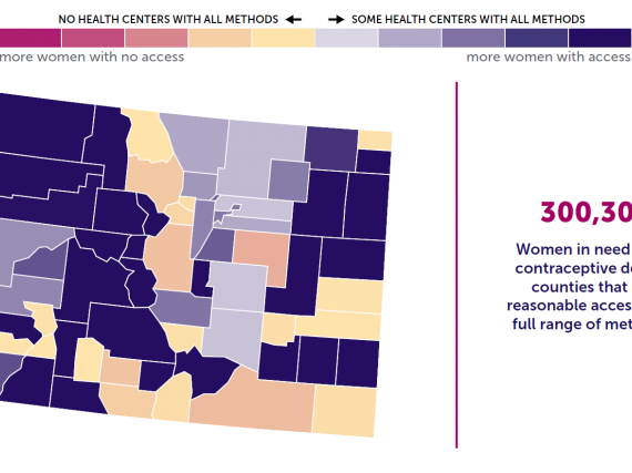 A map of Colorado showing the levels of contraceptive access by county.