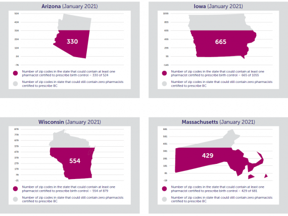 A graphic showing the number of zip codes in AZ, IA, WI, and MA that could contain at least one pharmacist certified to prescribe birth control if pending legislation is passed.