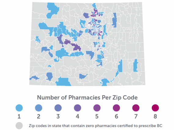 A map of Colorado showing the density of birth control prescribing pharmacies by zip code.