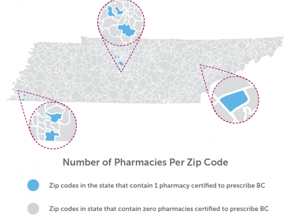 A map of Tennessee showing the density of birth control prescribing by pharmacies by zip code.