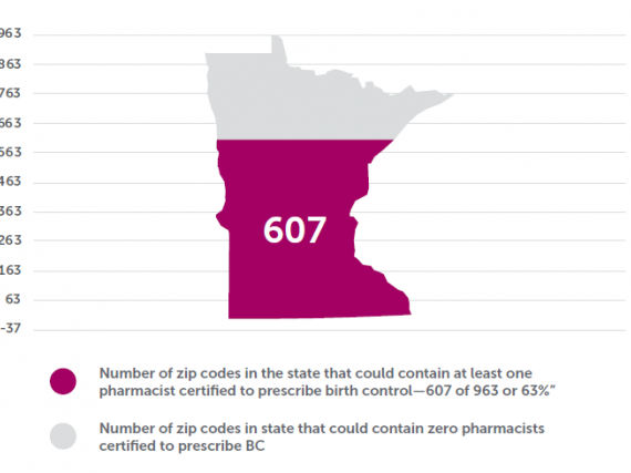 A map of Minnesota showing the estimated number of zip codes containing at least one pharmacist certified to prescribe birth control.
