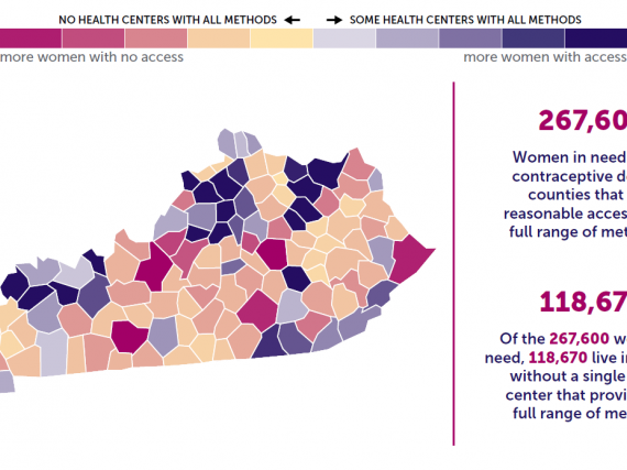 A map of Kentucky showing the levels of contraceptive access by county.