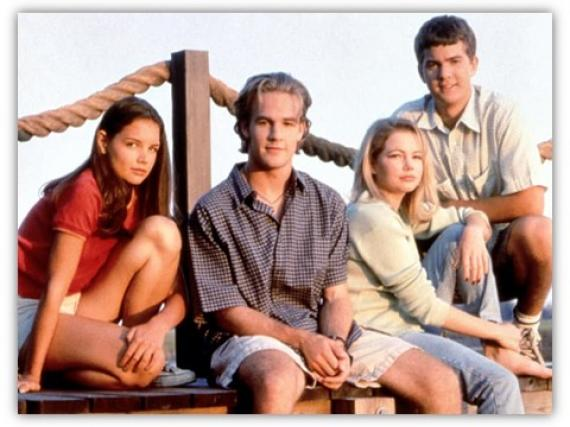 The cast of Dawson's Creek in a posed publicity photo.