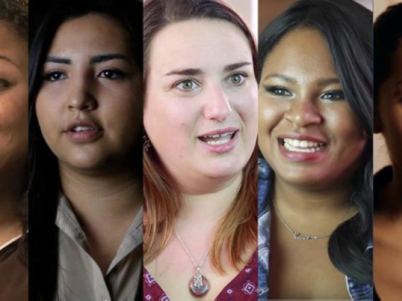 Faces of the five women in this video series
