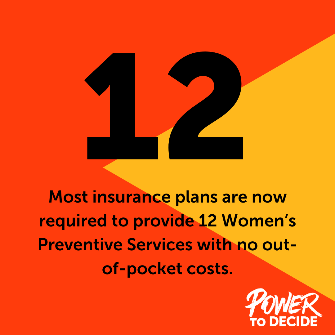 "A graphic that reads, ""As of December 2019, most insurance plans are required to provide 12 Women's Preventive Services with no out-of-pocket costs."""