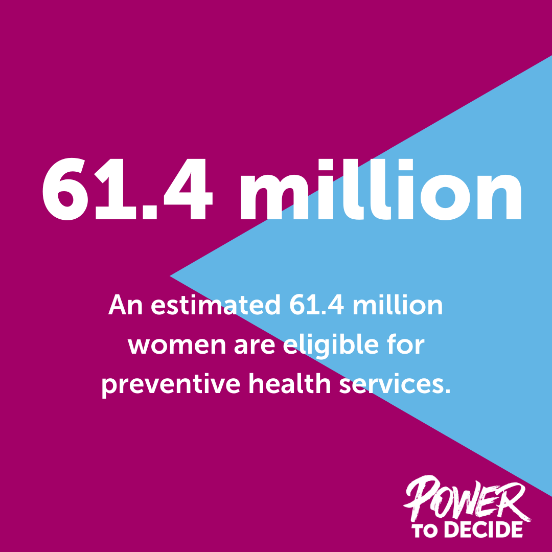 "A graphic reading, ""An estimated 61.4 million women are eligible for the preventive health services."""