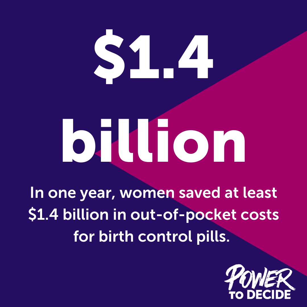 "A graphic reading, ""In a single year, women saved at least $1.4 billion in out-of-pocket costs for birth control pills."""