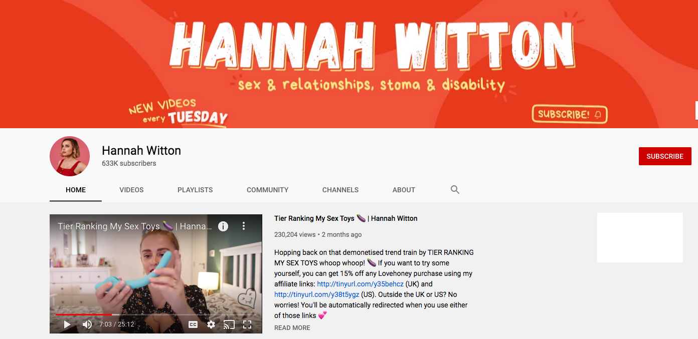 A screenshot of Hannah Witton's YouTube account.