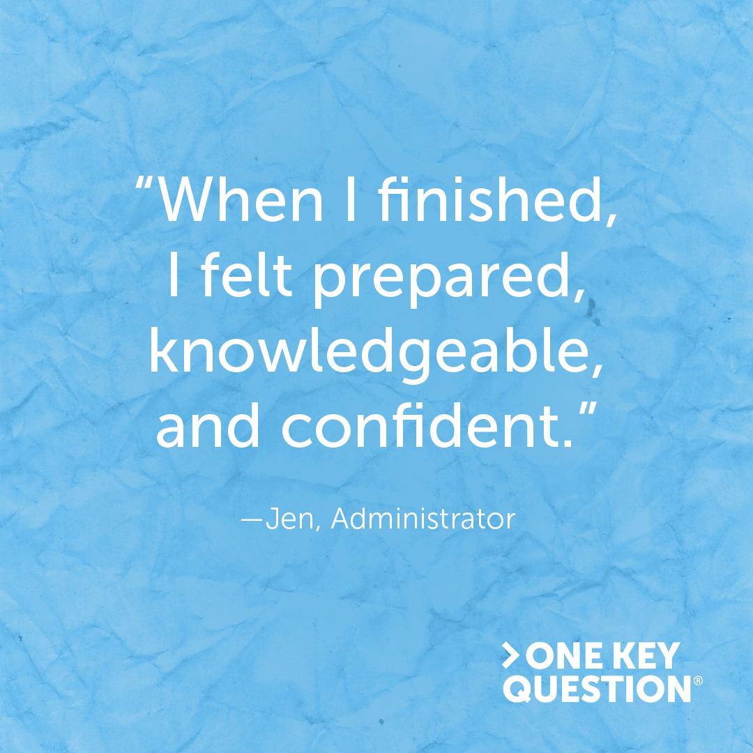 "A graphic with a quote from an administrator which reads, ""When I finished, I felt prepared, knowledgeable, and confident."""