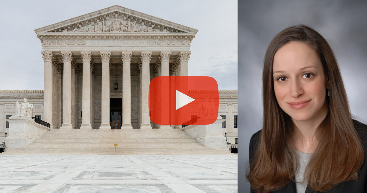 A photo of the Supreme Court next to a photo of Rachel Fey