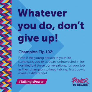 "A champion tip ""Don't give up!"""
