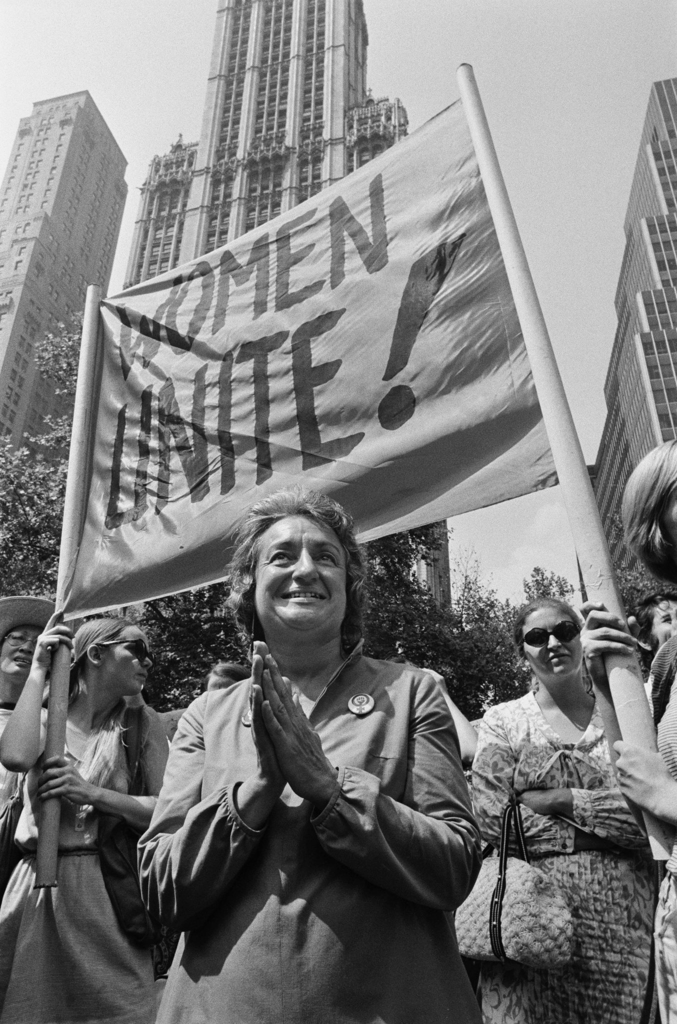 Activist Betty Friedan marches in the 1970s.