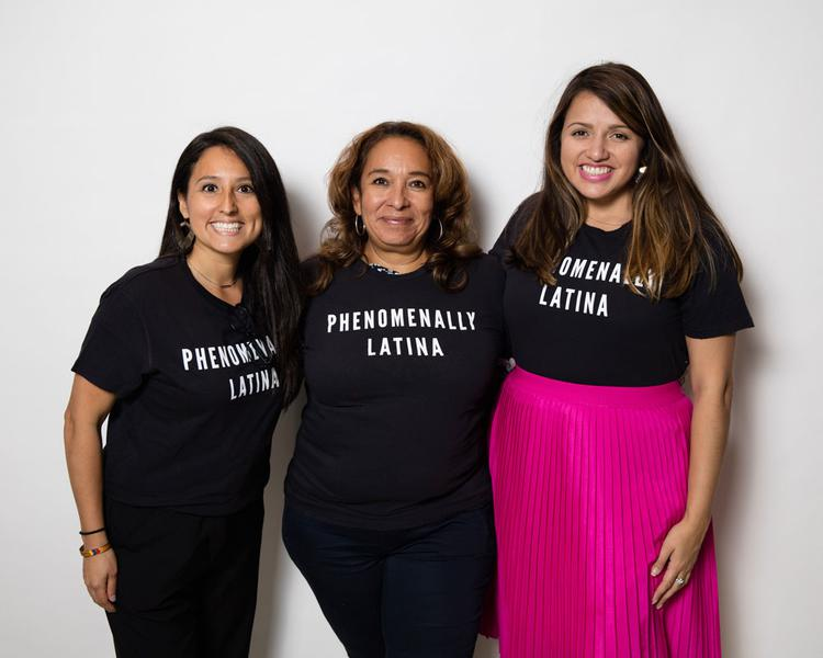 "Three Latina women in shirts that read, ""Phenomenally Latina"""