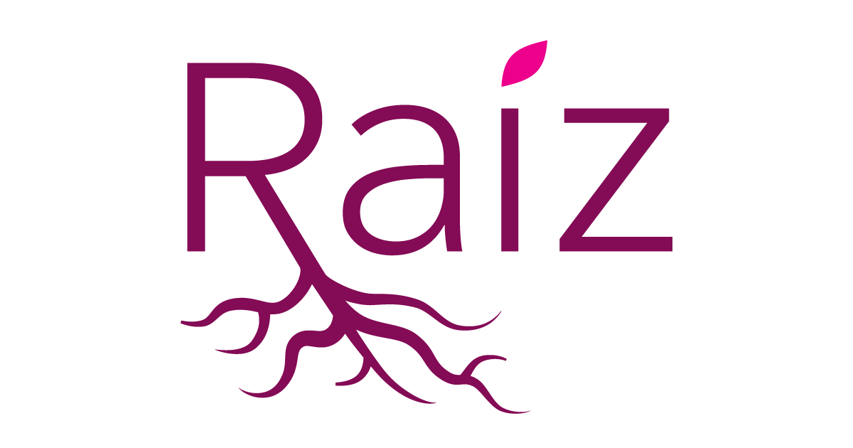 The logo for Raiz organization.